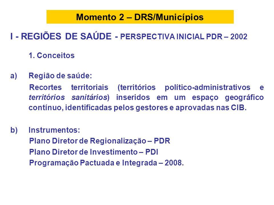 I - REGIÕES DE SAÚDE - PERSPECTIVA INICIAL PDR – 2002 1. Conceitos a)Região de saúde: Recortes territoriais (territórios político-administrativos e te