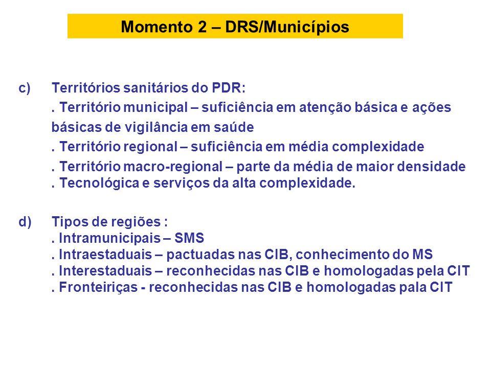 c)Territórios sanitários do PDR:. Território municipal – suficiência em atenção básica e ações básicas de vigilância em saúde. Território regional – s
