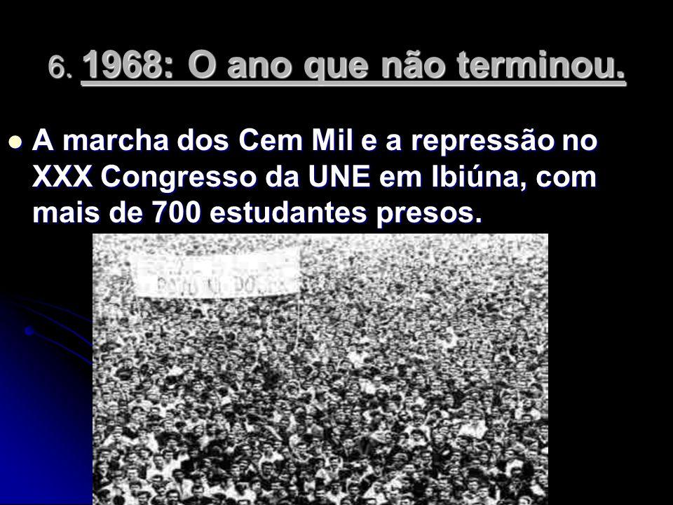 A marcha dos Cem Mil e a repressão no XXX Congresso da UNE em Ibiúna, com mais de 700 estudantes presos. A marcha dos Cem Mil e a repressão no XXX Con