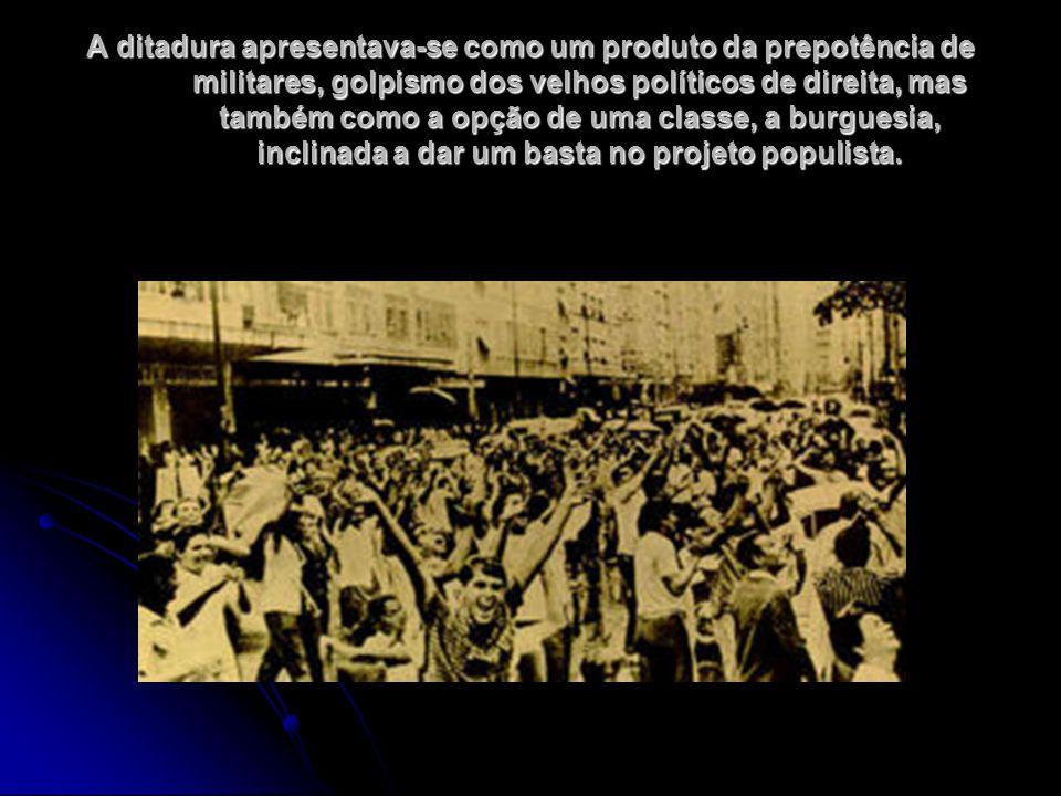 A ditadura apresentava-se como um produto da prepotência de militares, golpismo dos velhos políticos de direita, mas também como a opção de uma classe