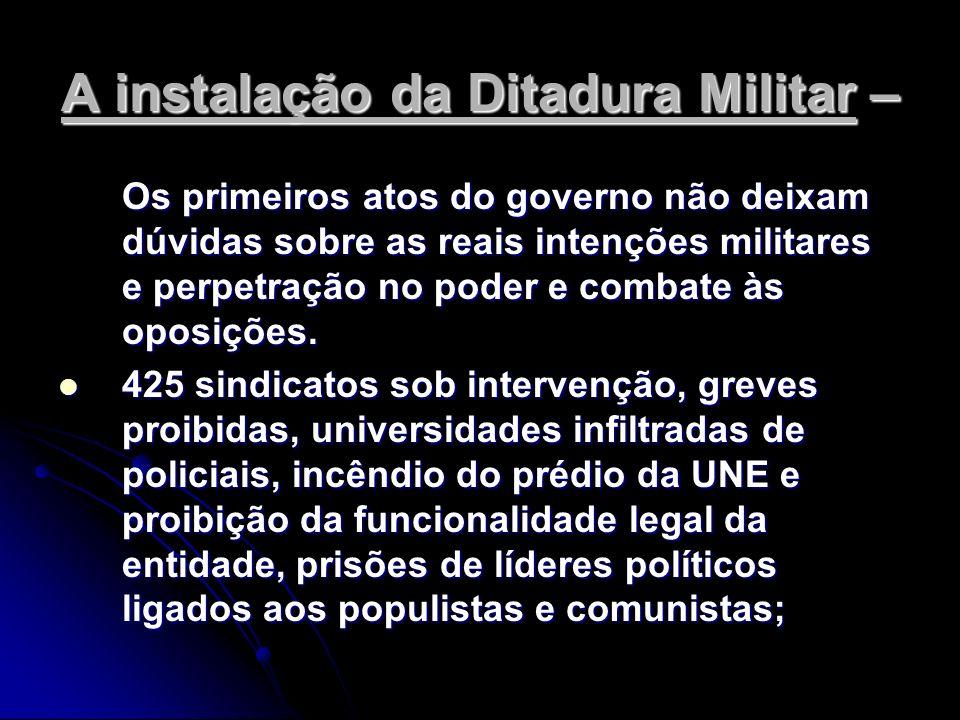 A instalação da Ditadura Militar – Os primeiros atos do governo não deixam dúvidas sobre as reais intenções militares e perpetração no poder e combate