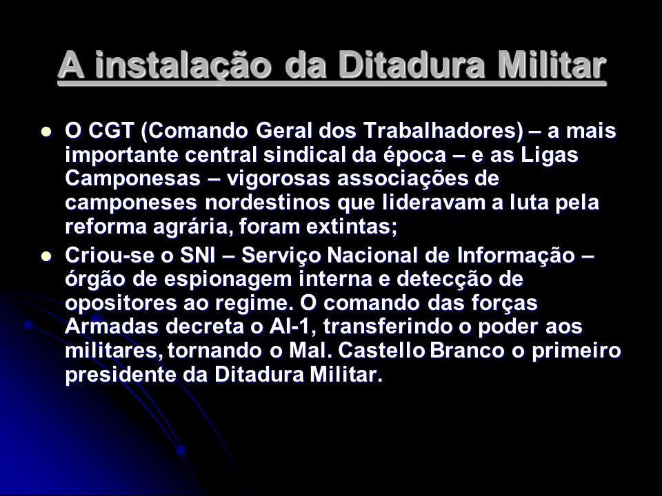 A instalação da Ditadura Militar O CGT (Comando Geral dos Trabalhadores) – a mais importante central sindical da época – e as Ligas Camponesas – vigor