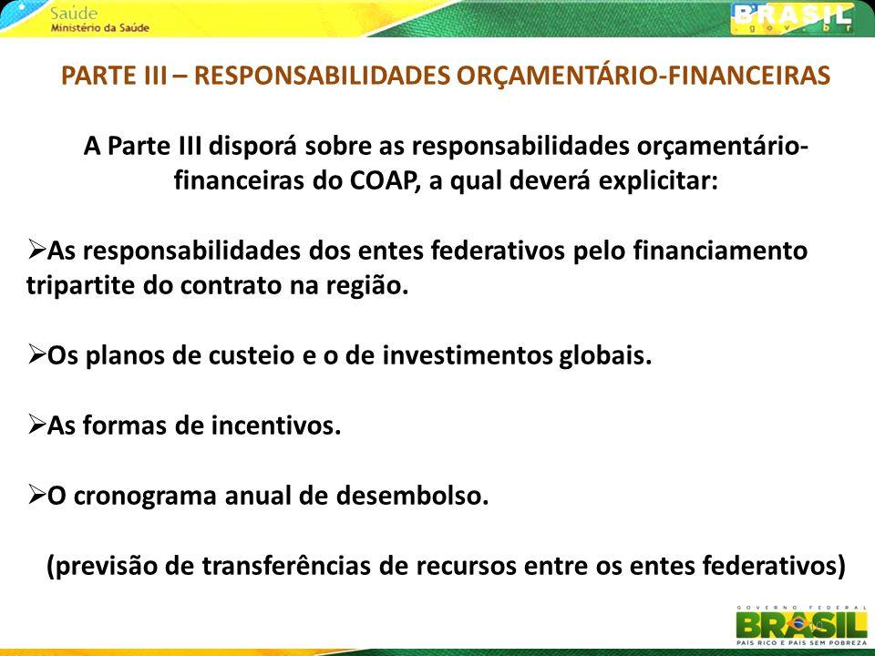 PARTE III – RESPONSABILIDADES ORÇAMENTÁRIO-FINANCEIRAS A Parte III disporá sobre as responsabilidades orçamentário- financeiras do COAP, a qual deverá