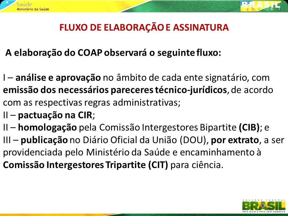 13 FLUXO DE ELABORAÇÃO E ASSINATURA A elaboração do COAP observará o seguinte fluxo: I – análise e aprovação no âmbito de cada ente signatário, com em