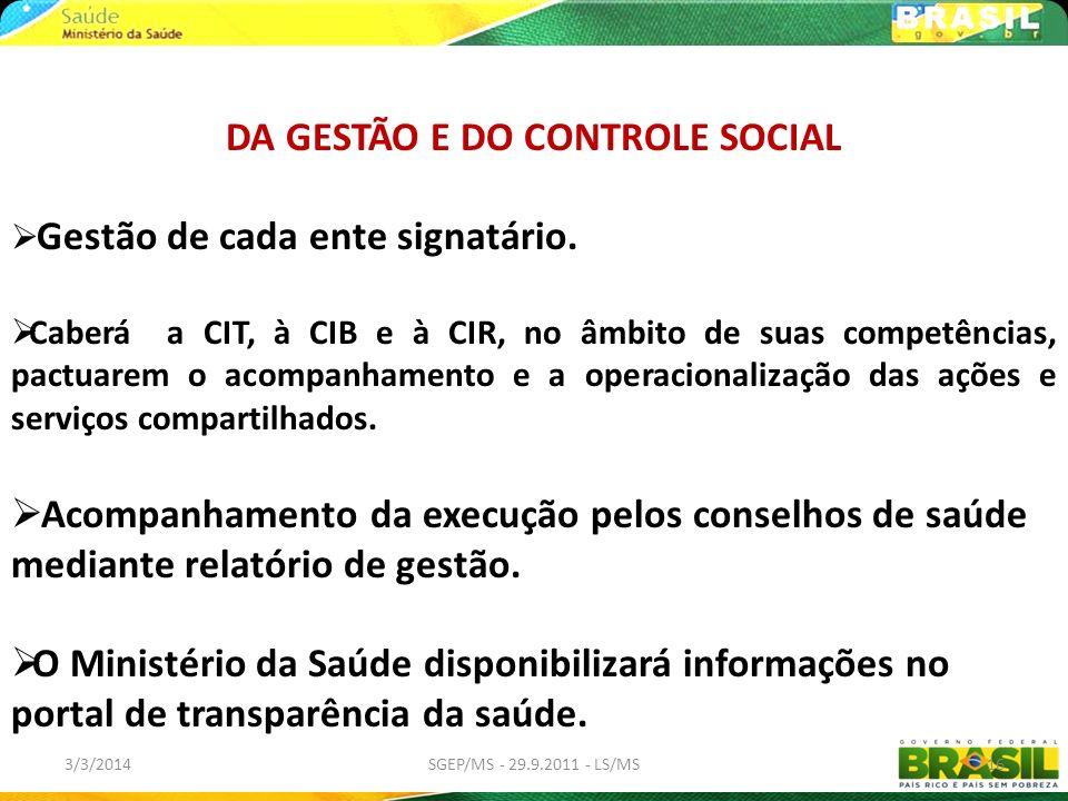 3/3/2014SGEP/MS - 29.9.2011 - LS/MS16 DA GESTÃO E DO CONTROLE SOCIAL Gestão de cada ente signatário. Caberá a CIT, à CIB e à CIR, no âmbito de suas co