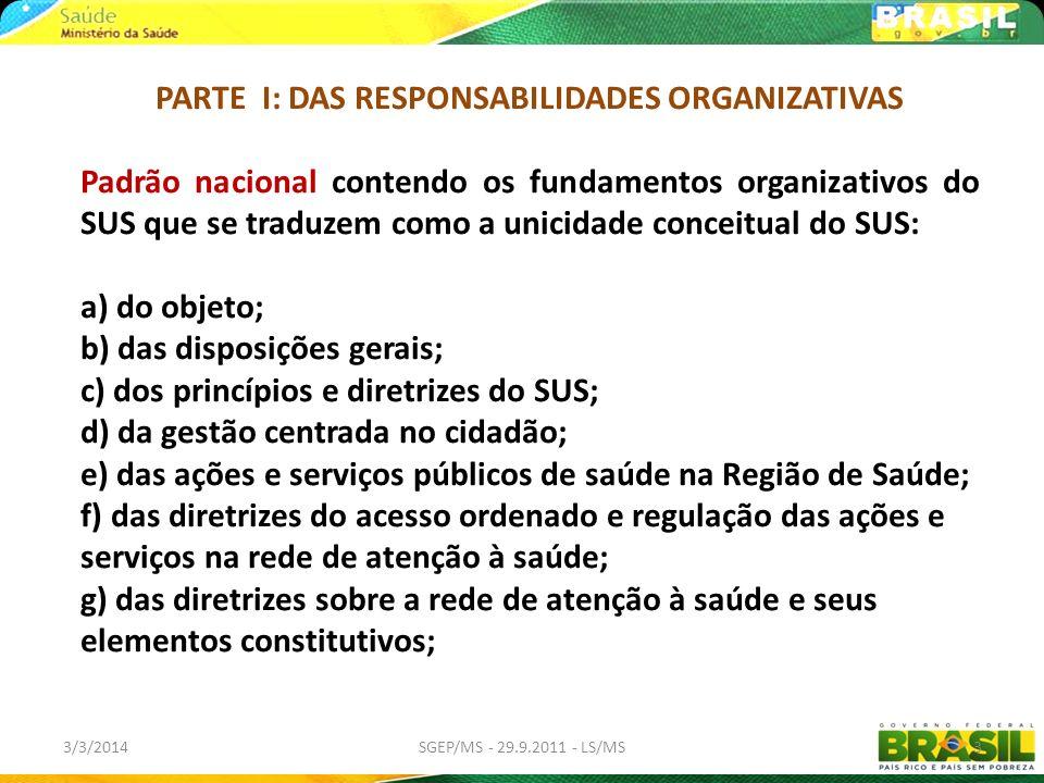 PARTE I: DAS RESPONSABILIDADES ORGANIZATIVAS Padrão nacional contendo os fundamentos organizativos do SUS que se traduzem como a unicidade conceitual