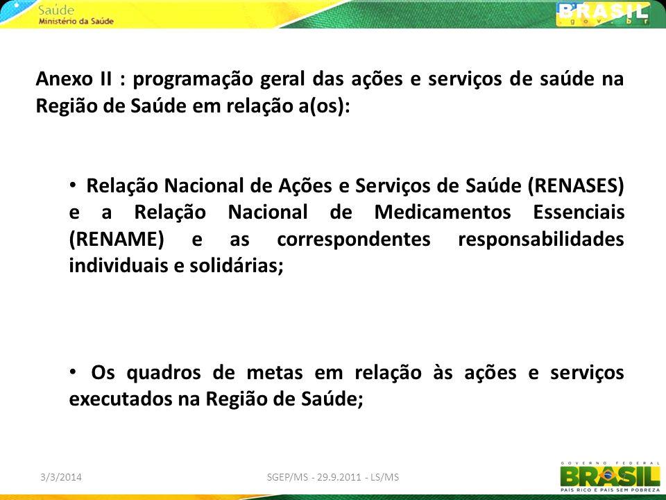 3/3/2014SGEP/MS - 29.9.2011 - LS/MS7 Anexo II : programação geral das ações e serviços de saúde na Região de Saúde em relação a(os): Relação Nacional