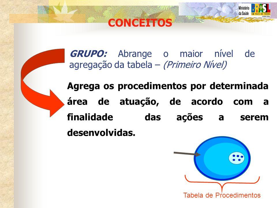 CONCEITOS GRUPO: Abrange o maior nível de agregação da tabela – (Primeiro Nível) Agrega os procedimentos por determinada área de atuação, de acordo co