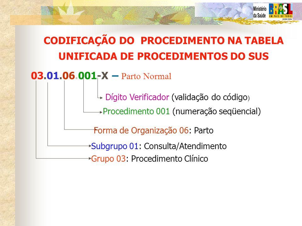CODIFICAÇÃO DO PROCEDIMENTO NA TABELA UNIFICADA DE PROCEDIMENTOS DO SUS 03.01.06.001-X – Parto Normal Grupo 03: Procedimento Clínico Subgrupo 01: Cons