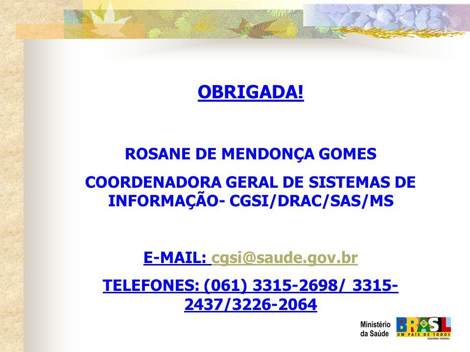OBRIGADA! ROSANE DE MENDONÇA GOMES COORDENADORA GERAL DE SISTEMAS DE INFORMAÇÃO- CGSI/DRAC/SAS/MS E-MAIL: cgsi@saude.gov.brcgsi@saude.gov.br TELEFONES