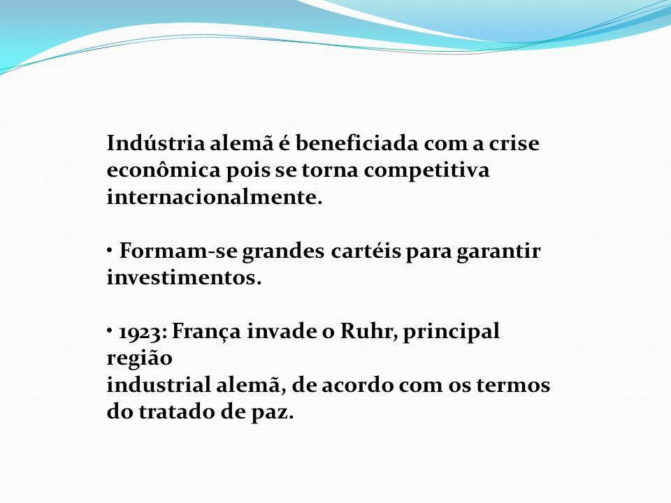 Indústria alemã é beneficiada com a crise econômica pois se torna competitiva internacionalmente. Formam-se grandes cartéis para garantir investimento