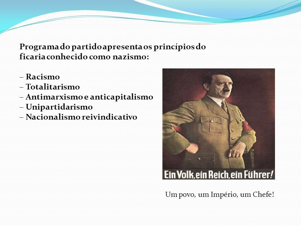 Programa do partido apresenta os princípios do ficaria conhecido como nazismo: – Racismo – Totalitarismo – Antimarxismo e anticapitalismo – Unipartida