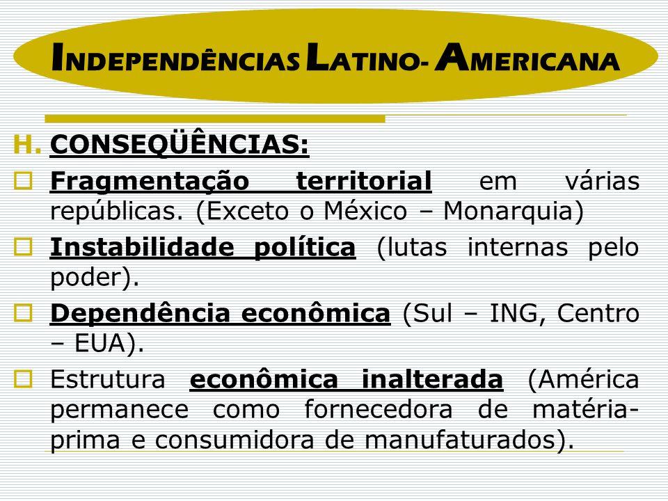 H.CONSEQÜÊNCIAS: Fragmentação territorial em várias repúblicas. (Exceto o México – Monarquia) Instabilidade política (lutas internas pelo poder). Depe
