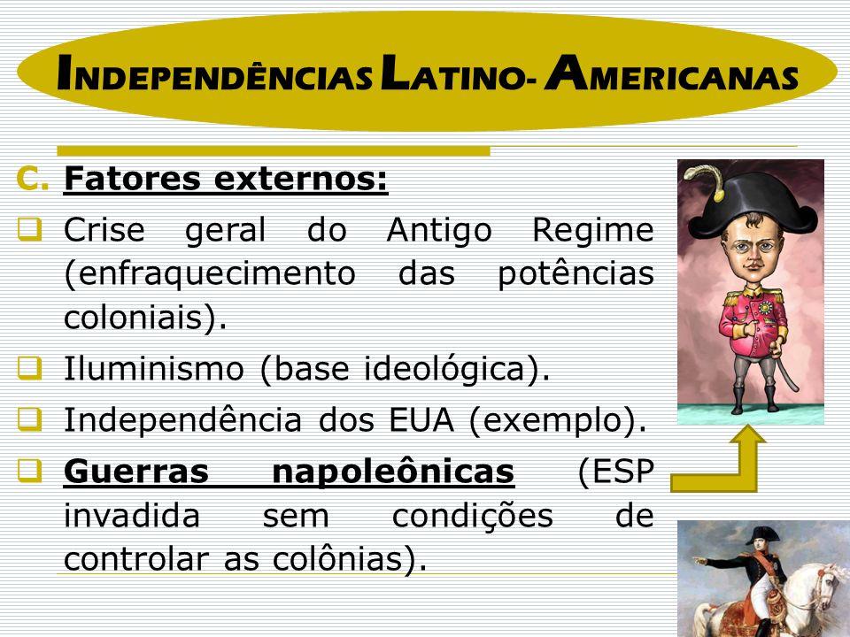 I NDEPENDÊNCIAS L ATINO- A MERICANAS C.Fatores externos: Crise geral do Antigo Regime (enfraquecimento das potências coloniais).