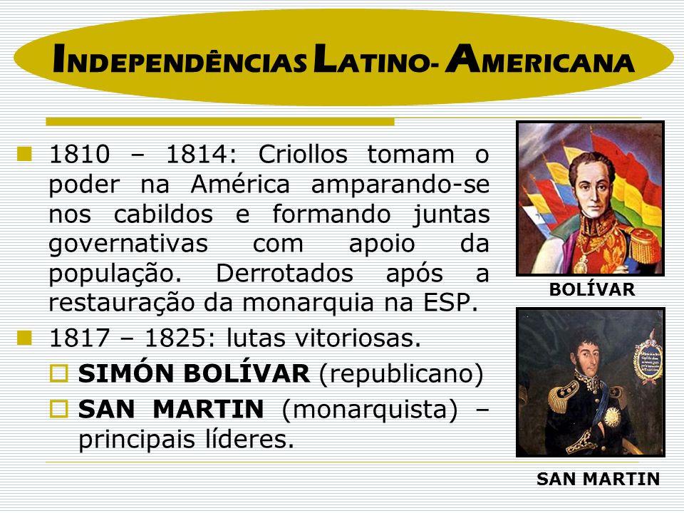 1810 – 1814: Criollos tomam o poder na América amparando-se nos cabildos e formando juntas governativas com apoio da população. Derrotados após a rest