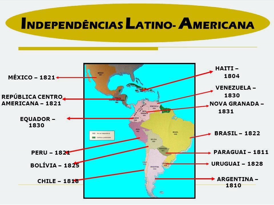 EQUADOR – 1830 PERU – 1821 VENEZUELA – 1830 HAITI – 1804 NOVA GRANADA – 1831 BOLÍVIA – 1825 CHILE – 1818 ARGENTINA – 1810 URUGUAI – 1828 PARAGUAI – 1811 BRASIL – 1822 MÉXICO – 1821 REPÚBLICA CENTRO AMERICANA – 1821 I NDEPENDÊNCIAS L ATINO- A MERICANA