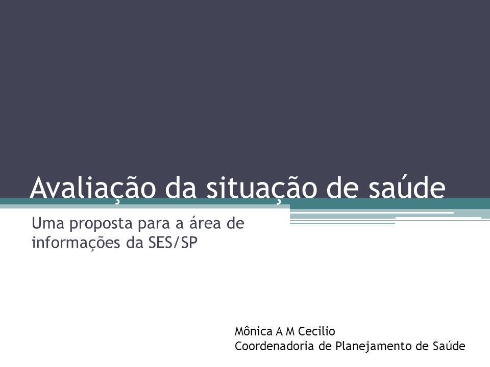 Avaliação da situação de saúde Uma proposta para a área de informações da SES/SP Mônica A M Cecilio Coordenadoria de Planejamento de Saúde