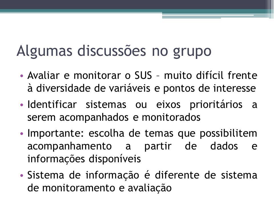 Algumas discussões no grupo Avaliar e monitorar o SUS – muito difícil frente à diversidade de variáveis e pontos de interesse Identificar sistemas ou
