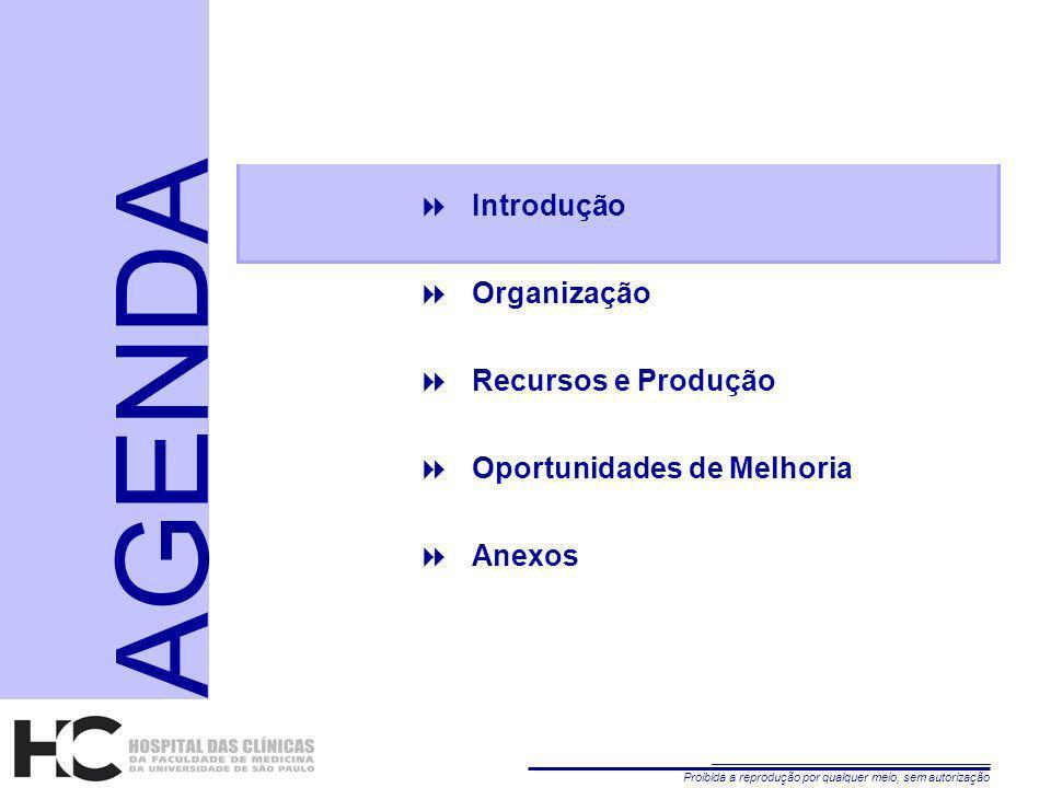 Proibida a reprodução por qualquer meio, sem autorização 2 Introdução Organização Recursos e Produção Oportunidades de Melhoria Anexos AGENDA