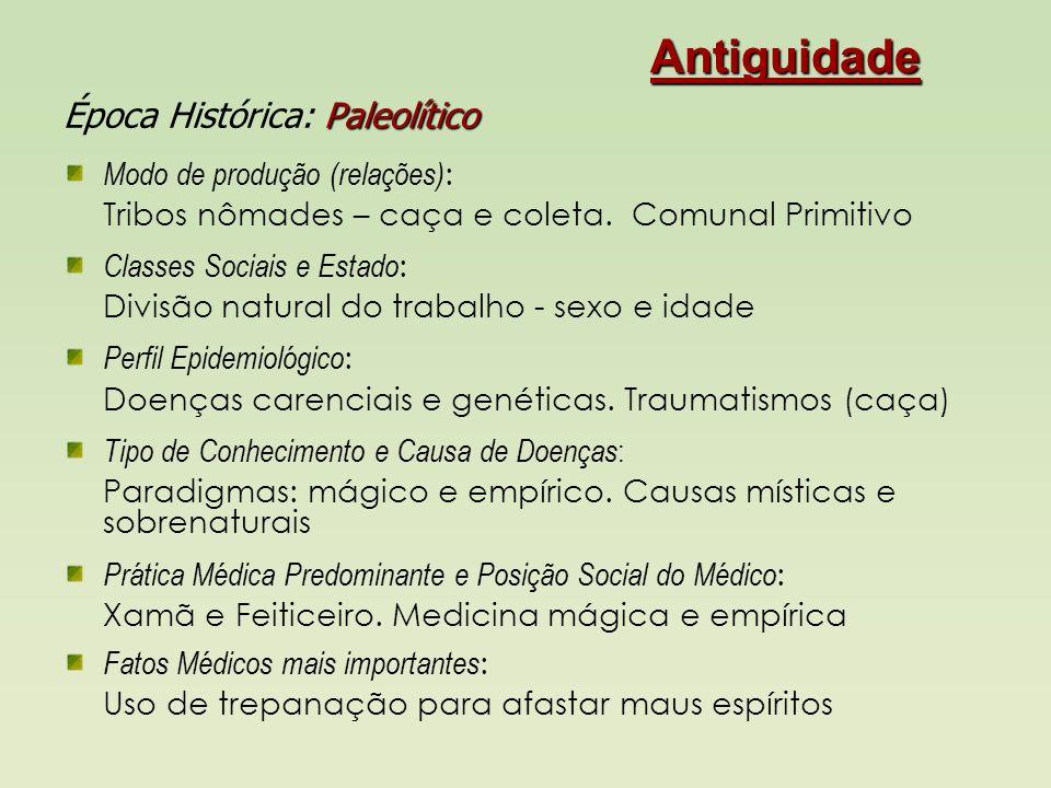 Antiguidade I Neolítico Época Histórica: Neolítico Modo de produção (relações) : Aldeia: sedentários (agricultura e rebanhos).