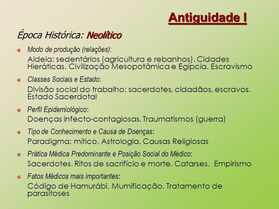 Antiguidade I Neolítico Época Histórica: Neolítico Modo de produção (relações) : Aldeia: sedentários (agricultura e rebanhos). Cidades Hieráticas. Civ
