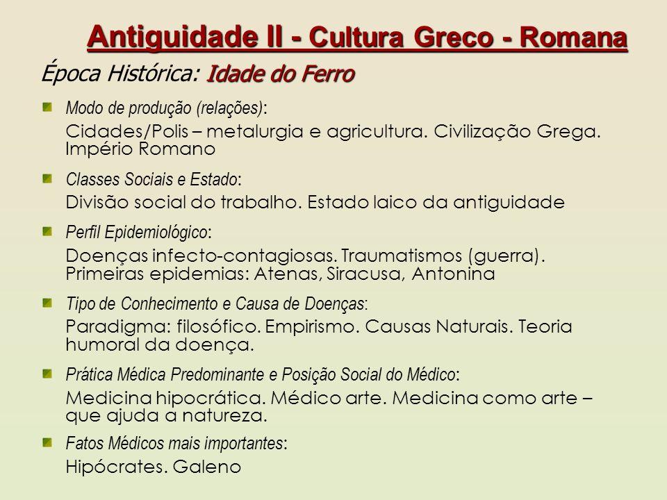 Antiguidade II - Cultura Greco - Romana Idade do Ferro Época Histórica: Idade do Ferro Modo de produção (relações) : Cidades/Polis – metalurgia e agri