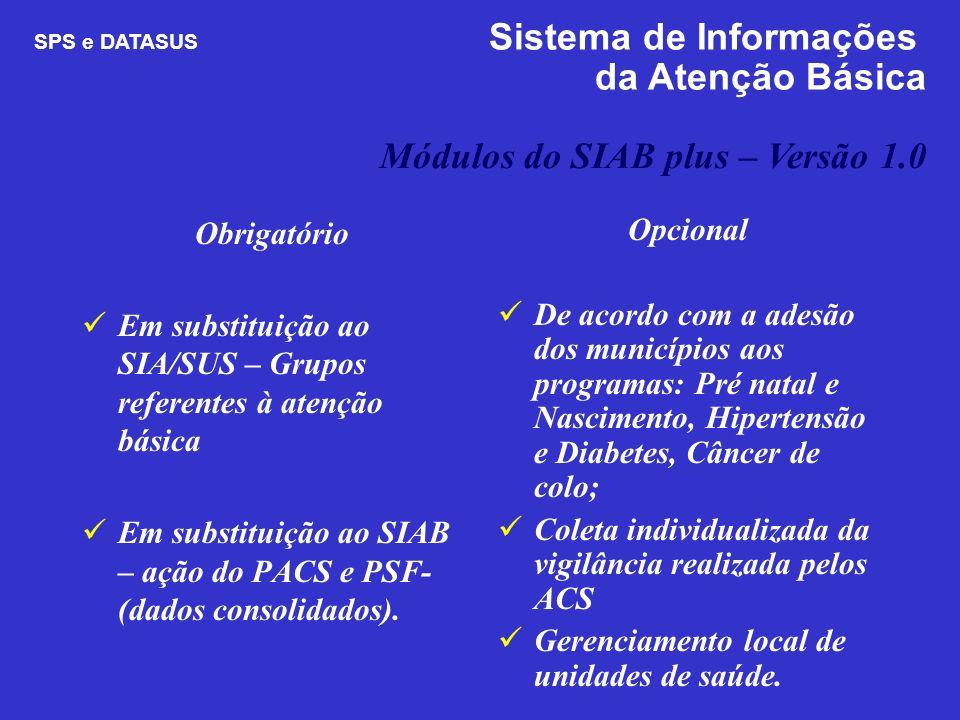 Obrigatório Em substituição ao SIA/SUS – Grupos referentes à atenção básica Em substituição ao SIAB – ação do PACS e PSF- (dados consolidados). Opcion