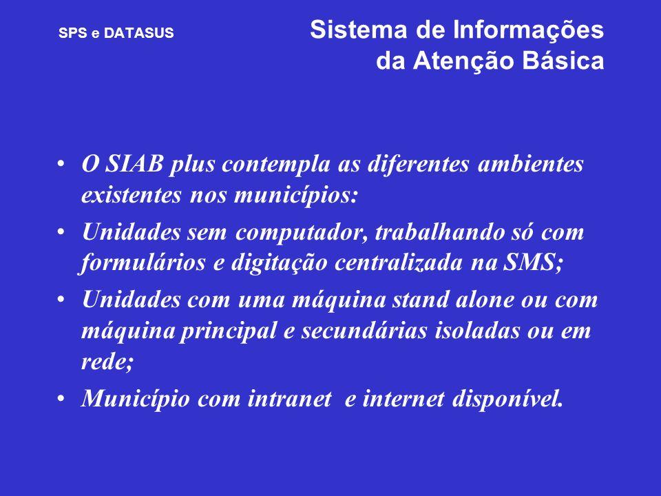 SPS e DATASUS Sistema de Informações da Atenção Básica O SIAB plus contempla as diferentes ambientes existentes nos municípios: Unidades sem computado