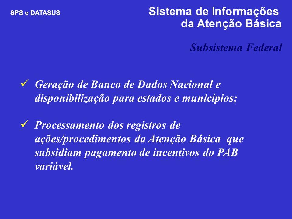 Geração de Banco de Dados Nacional e disponibilização para estados e municípios; Processamento dos registros de ações/procedimentos da Atenção Básica