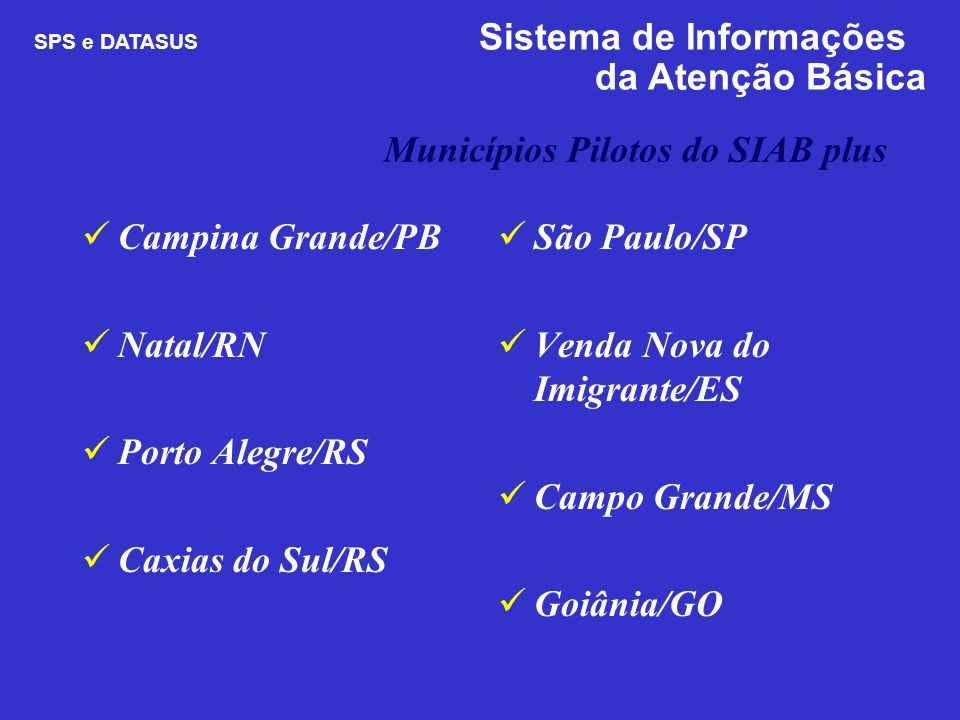 Municípios Pilotos do SIAB plus Campina Grande/PB Natal/RN Porto Alegre/RS Caxias do Sul/RS São Paulo/SP Venda Nova do Imigrante/ES Campo Grande/MS Go