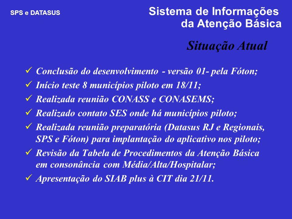 Situação Atual Conclusão do desenvolvimento - versão 01- pela Fóton; Início teste 8 municípios piloto em 18/11; Realizada reunião CONASS e CONASEMS; R