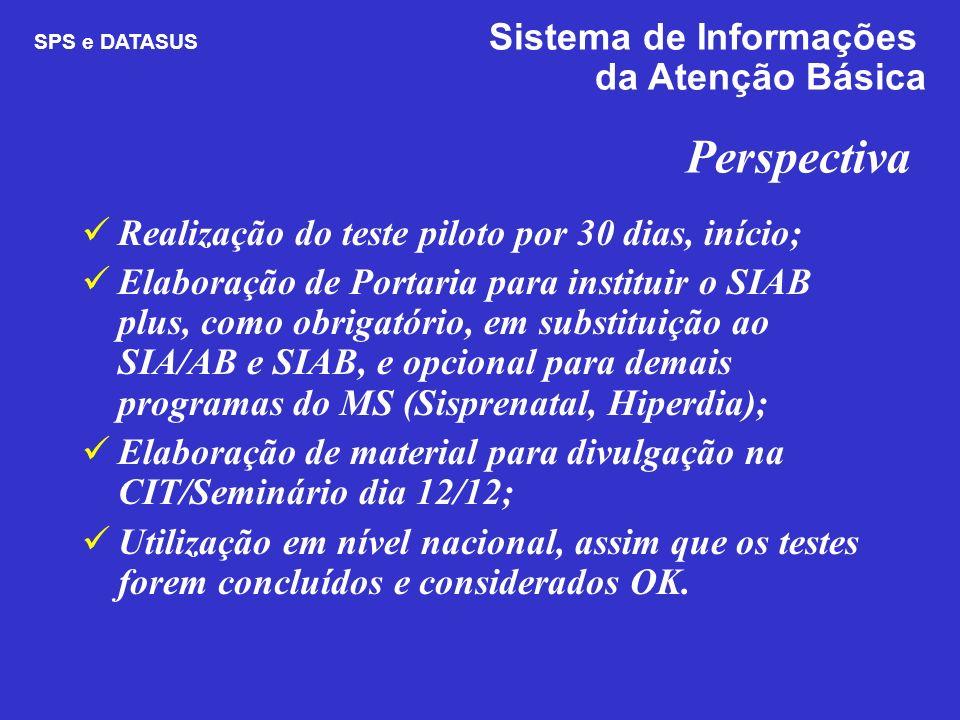 Perspectiva Realização do teste piloto por 30 dias, início; Elaboração de Portaria para instituir o SIAB plus, como obrigatório, em substituição ao SI
