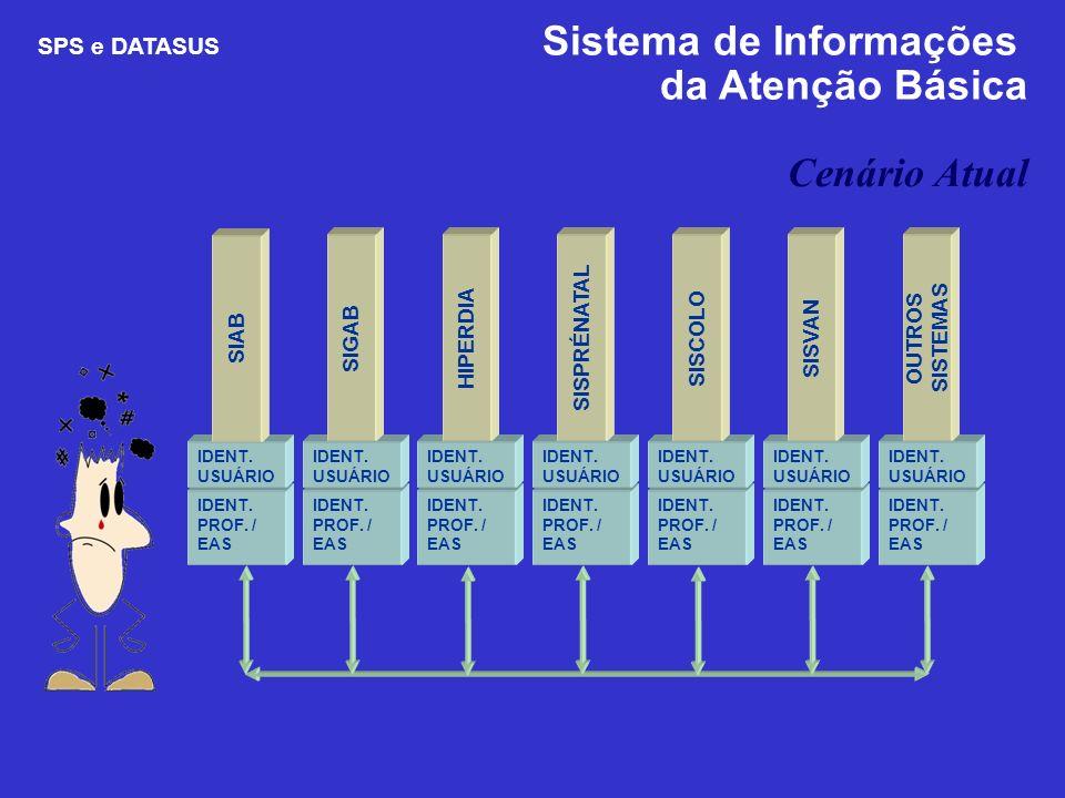 Cenário Atual SPS e DATASUS Sistema de Informações da Atenção Básica IDENT. PROF. / EAS IDENT. USUÁRIO SIAB IDENT. PROF. / EAS IDENT. USUÁRIO SIGAB ID