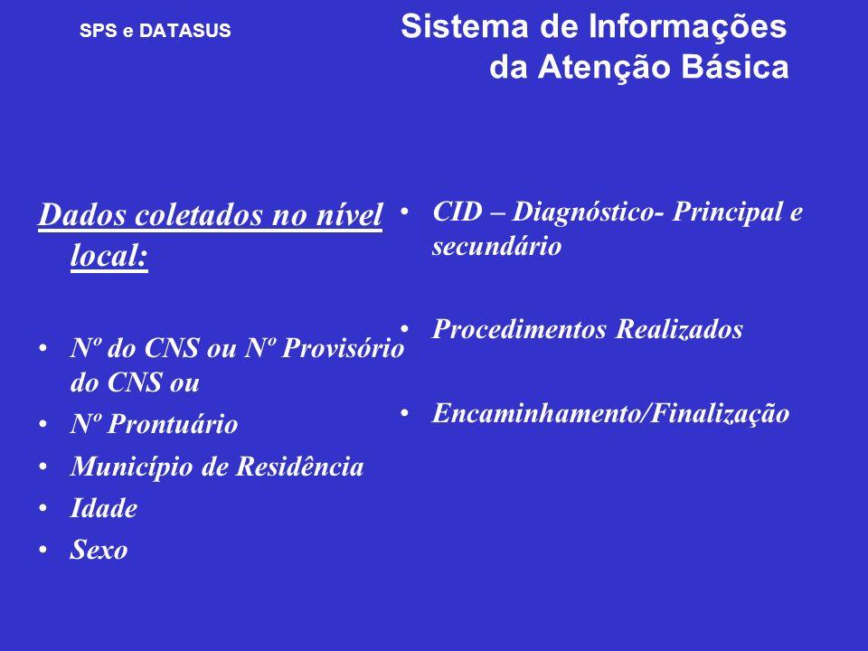 SPS e DATASUS Sistema de Informações da Atenção Básica Dados coletados no nível local: Nº do CNS ou Nº Provisório do CNS ou Nº Prontuário Município de
