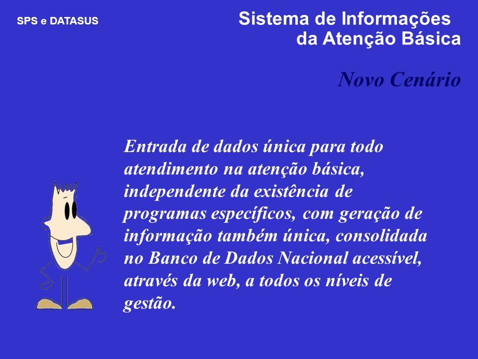 Novo Cenário SPS e DATASUS Sistema de Informações da Atenção Básica Entrada de dados única para todo atendimento na atenção básica, independente da ex