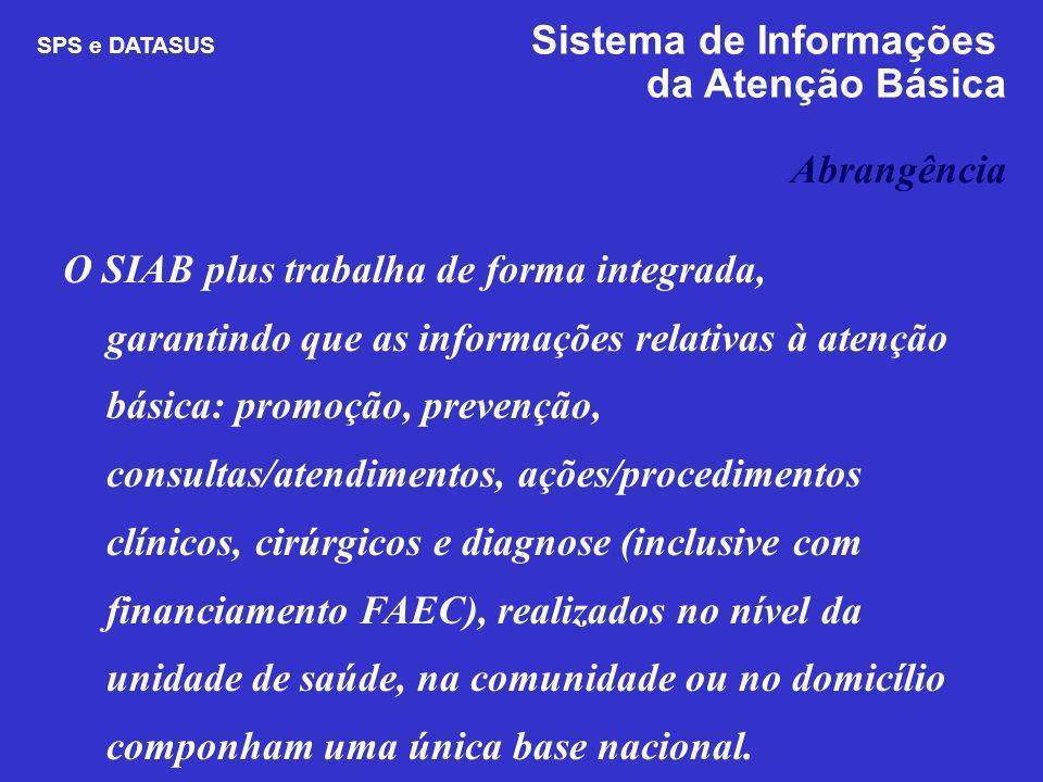 O SIAB plus trabalha de forma integrada, garantindo que as informações relativas à atenção básica: promoção, prevenção, consultas/atendimentos, ações/