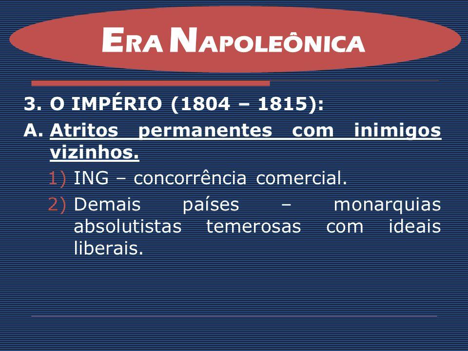 3.O IMPÉRIO (1804 – 1815): A.Atritos permanentes com inimigos vizinhos. 1)ING – concorrência comercial. 2)Demais países – monarquias absolutistas teme