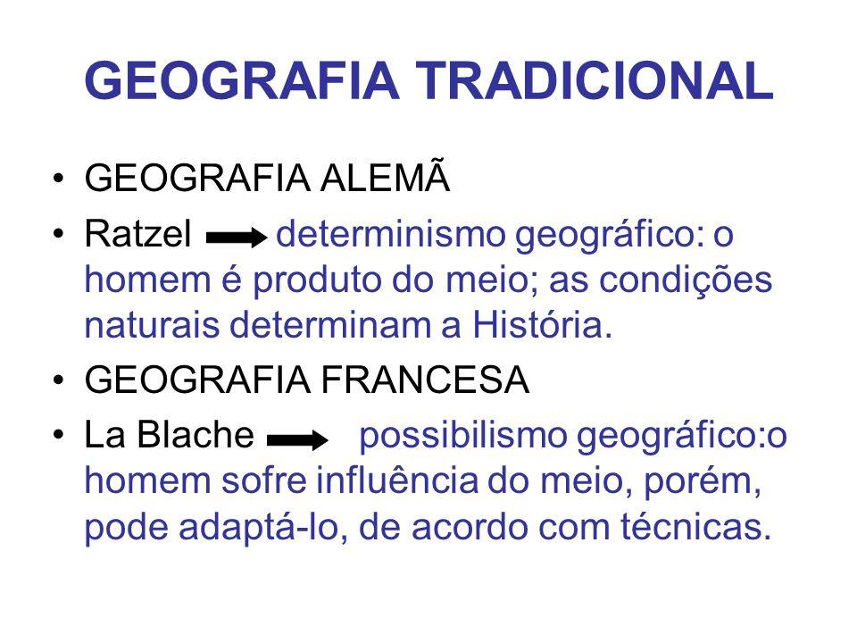 GEOGRAFIA TRADICIONAL GEOGRAFIA ALEMÃ Ratzel determinismo geográfico: o homem é produto do meio; as condições naturais determinam a História.