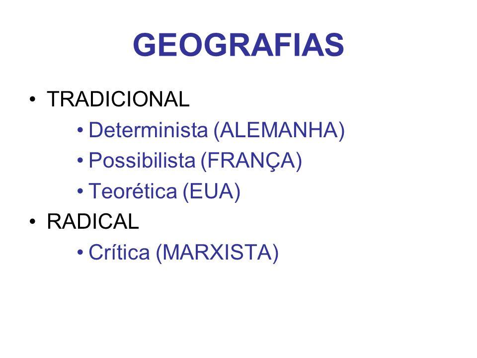 GEOGRAFIAS TRADICIONAL Determinista (ALEMANHA) Possibilista (FRANÇA) Teorética (EUA) RADICAL Crítica (MARXISTA)
