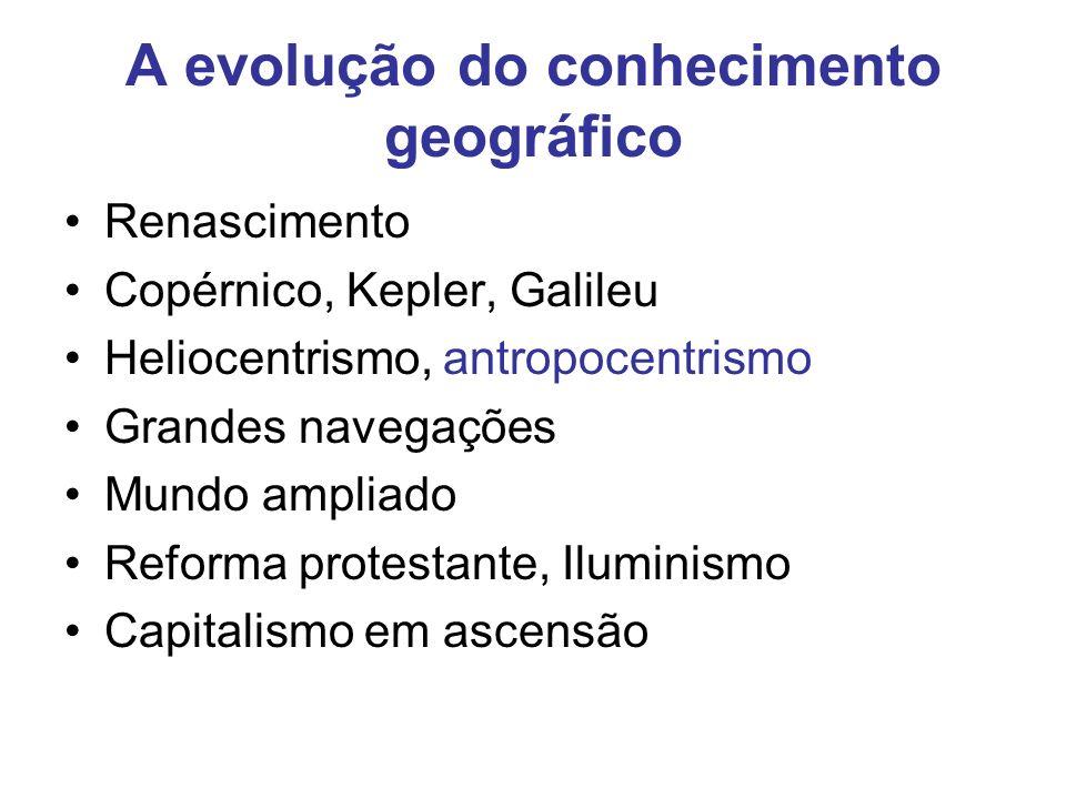A evolução do conhecimento geográfico Renascimento Copérnico, Kepler, Galileu Heliocentrismo, antropocentrismo Grandes navegações Mundo ampliado Reforma protestante, Iluminismo Capitalismo em ascensão