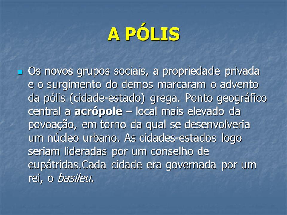 A PÓLIS Os novos grupos sociais, a propriedade privada e o surgimento do demos marcaram o advento da pólis (cidade-estado) grega.