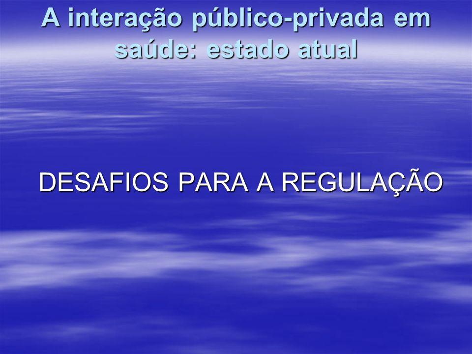 A interação público-privada em saúde: estado atual DESAFIOS PARA A REGULAÇÃO