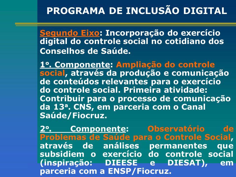 Segundo Eixo: Incorporação do exercício digital do controle social no cotidiano dos Conselhos de Saúde. 1 o. Componente: Ampliação do controle social,