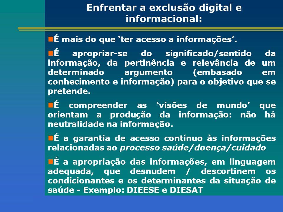 Programa de Inclusão Digital exercício do controle social condições de vidaproblemas de saúde