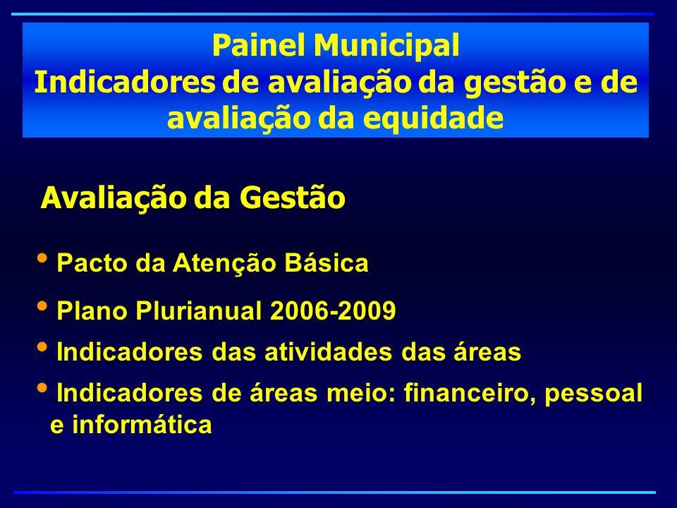 Painel Municipal Indicadores de avaliação da gestão e de avaliação da equidade Avaliação da Gestão Pacto da Atenção Básica Plano Plurianual 2006-2009
