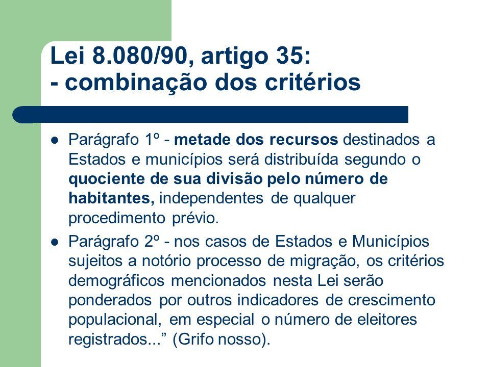 Lei 8.080/90, artigo 35: - combinação dos critérios Parágrafo 1º - metade dos recursos destinados a Estados e municípios será distribuída segundo o qu