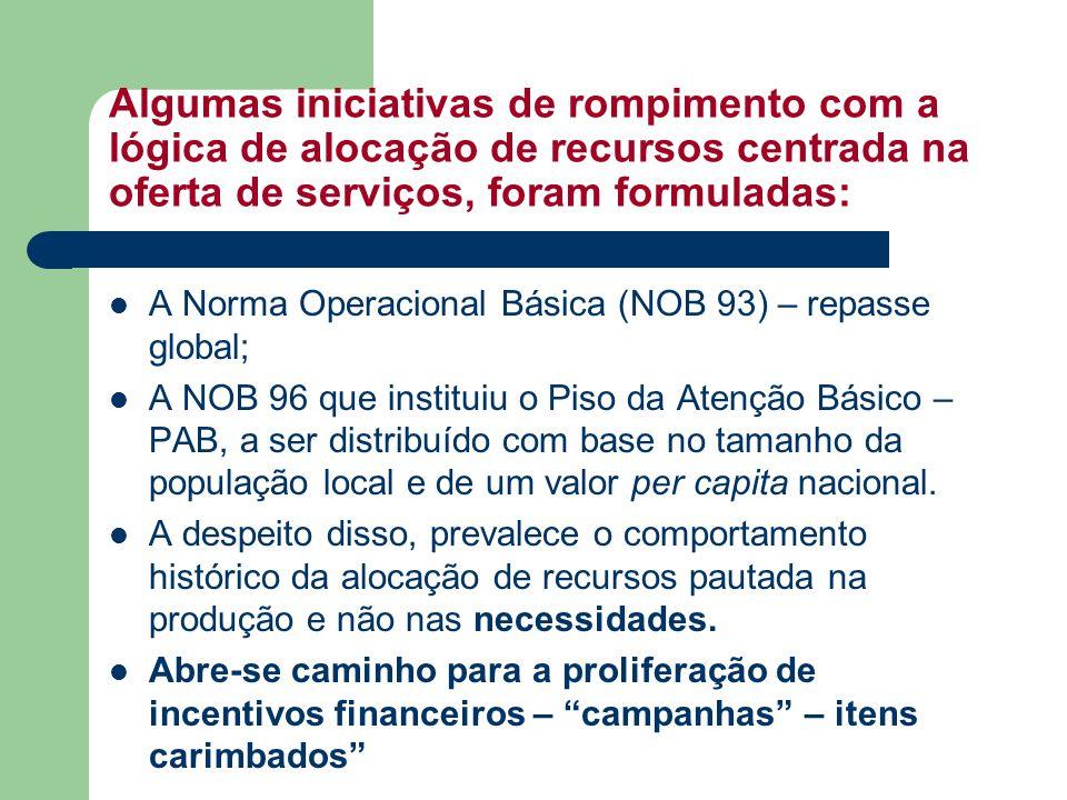 Algumas iniciativas de rompimento com a lógica de alocação de recursos centrada na oferta de serviços, foram formuladas: A Norma Operacional Básica (N
