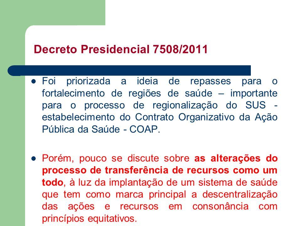 Decreto Presidencial 7508/2011 Foi priorizada a ideia de repasses para o fortalecimento de regiões de saúde – importante para o processo de regionaliz