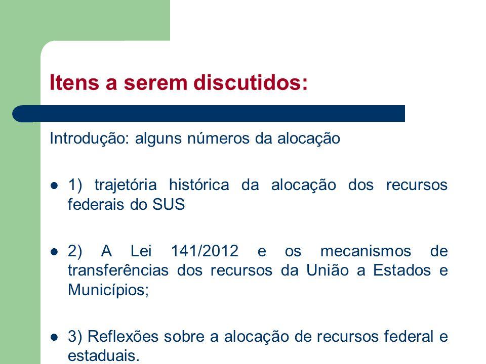 Itens a serem discutidos: Introdução: alguns números da alocação 1) trajetória histórica da alocação dos recursos federais do SUS 2) A Lei 141/2012 e
