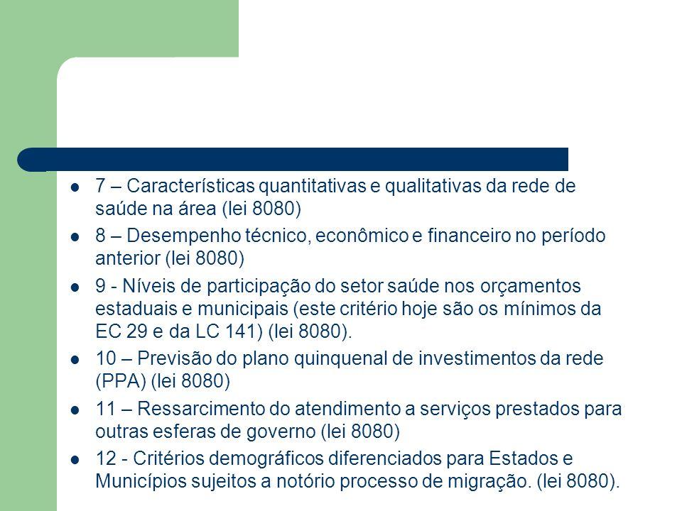 7 – Características quantitativas e qualitativas da rede de saúde na área (lei 8080) 8 – Desempenho técnico, econômico e financeiro no período anterio